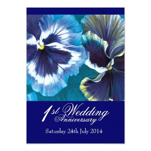 1st Wedding Anniversary Party Invitation blue