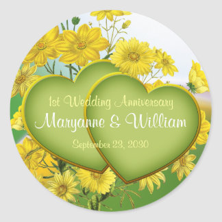 1st Wedding Anniversary Party Wildflower Classic Round Sticker