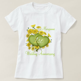 1st Wedding Anniversary Party Wildflower Hearts T-Shirt