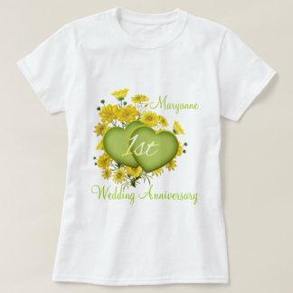 1st Wedding Anniversary Party Wildflower Hearts T-Shirt