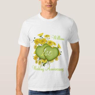1st Wedding Anniversary Party Wildflower Hearts Tshirts