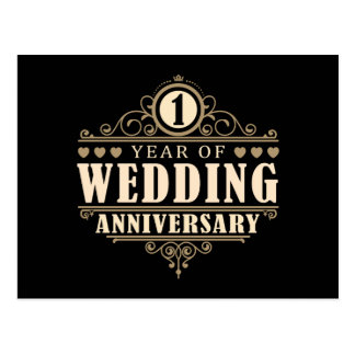 1st Wedding Anniversary Postcard