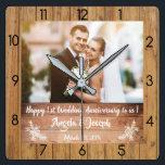 "1st Wedding Anniversary Wooden Texture Clock<br><div class=""desc"">1st Wedding Anniversary Wooden Texture Clock.</div>"