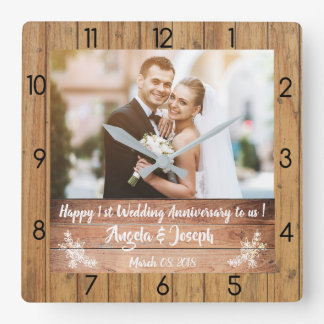 1st Wedding Anniversary Wooden Texture Clock