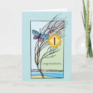 1st Year NA Recovery Anniversary Each Day Butterfl Card