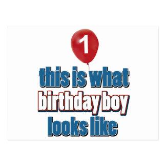1st year old birthday designs postcard