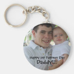 1stfathersday, Happy 1st Fathers Day, Daddy!!! Basic Round Button Keychain