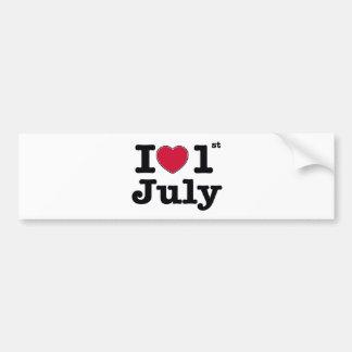1th july my day of birthday car bumper sticker