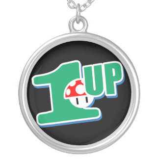 1up Gamer Geek Round Pendant Necklace