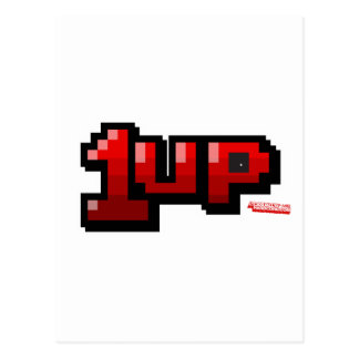 1UP - Gamer Video Games Extra Life Geek Postcard