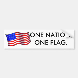 1usa1-med, ONE NATION,ONE FLAG. Bumper Sticker