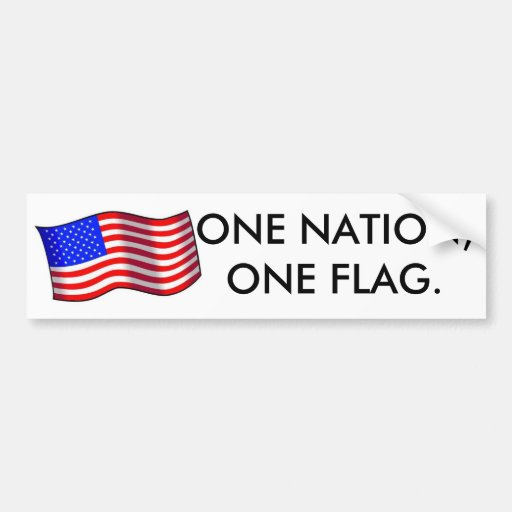 1usa1-med, ONE NATION,ONE FLAG. Car Bumper Sticker