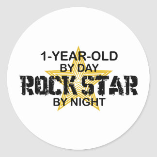 1Year Old Rock Star by Night Round Stickers