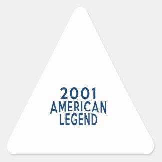 2001 diseños del cumpleaños de la leyenda del pegatina triangular