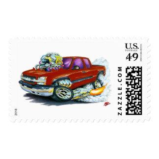 2003-06 Silverado Maroon Truck Postage Stamp