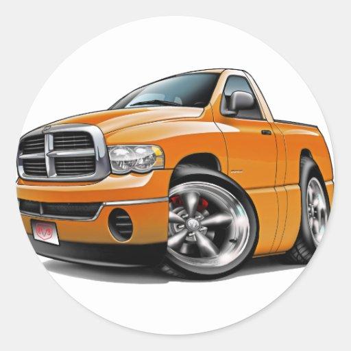 2003-08 camión del naranja del espolón de Dodge Pegatina Redonda