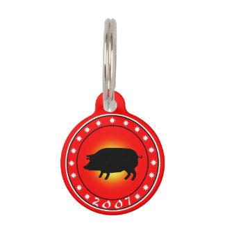 2007 años del cerdo identificador para mascota