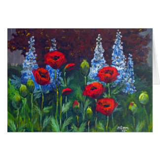 2007_Poppies_Delphiniums Greeting Card