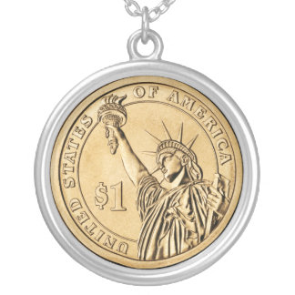 2007 Presidential One Dollar Coin from U.S. Mint Round Pendant Necklace