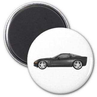 2008 Corvette: Sports Car: Black Finish 2 Inch Round Magnet