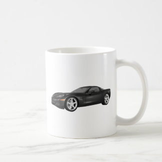 2008 Corvette: Sports Car: Black Finish Coffee Mug
