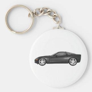 2008 Corvette: Sports Car: Black Finish Keychain
