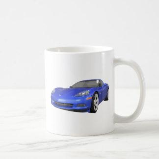 2008 Corvette: Sports Car: Blue Finish: Classic White Coffee Mug