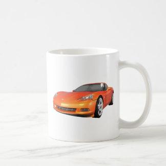 2008 Corvette: Sports Car: Orange Finish: Coffee Mug