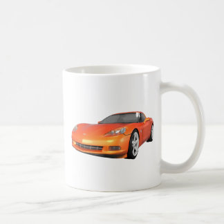 2008 Corvette: Sports Car: Orange Finish: Coffee Mugs