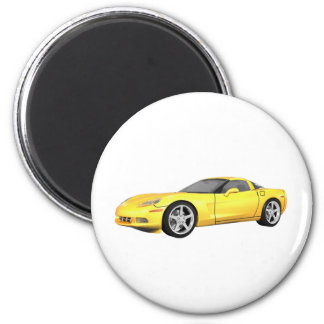 2008 Corvette: Sports Car: Yellow Finish: 2 Inch Round Magnet