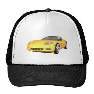 2008 Corvette: Sports Car: Yellow Finish: Trucker Hat