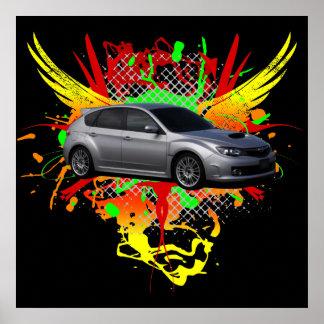 2008 WRX sti Silver Graphic Poster
