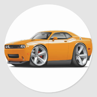 2009-11 Challenger RT Orange-White Car Round Sticker