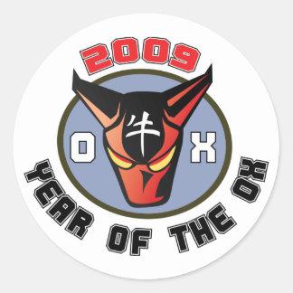 2009 - Año del buey Pegatinas Redondas