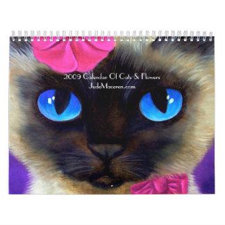 2009 gatos del calendario y pintura de las flores…