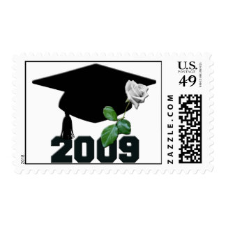 2009 Graduation Cap and a Single White Rose Postage Stamp