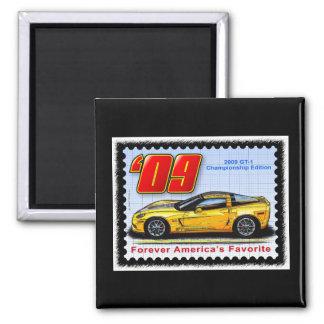 2009 GT1 Championship Corvette 2 Inch Square Magnet