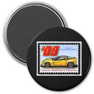2009 GT1 Championship Corvette 3 Inch Round Magnet