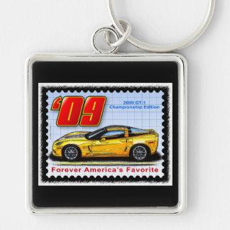 2009 GT1 Championship Corvette Silver-Colored Square Keychain