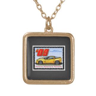 2009 GT1 Championship Corvette Square Pendant Necklace