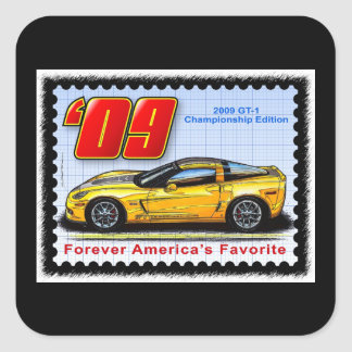 2009 GT1 Championship Corvette Square Sticker