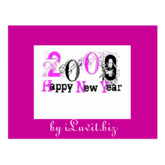 2009 _ HAPPY NEW YEAR -HOT PINK, Customized Postcard