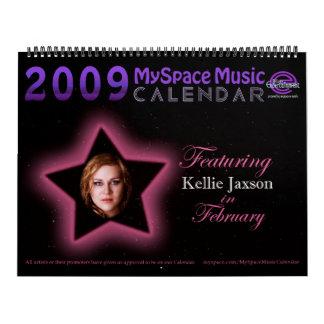 2009 MYSPACE MUSICCALENDAR que ofrecen KELLIE JAXS Calendario De Pared