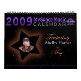 2009 MYSPACEMUSICCALENDAR que ofrecen a HORNER de Calendario De Pared