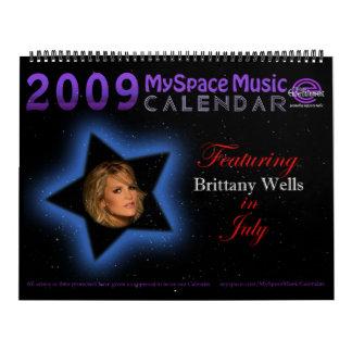 2009 MYSPACEMUSICCALENDAR que ofrecen los POZOS de Calendario De Pared