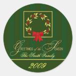 2009 navidad - etiquetas personalizadas del pegatinas redondas