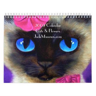 2009 pinturas de los gatos y de las flores del calendarios de pared