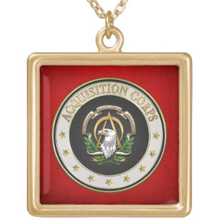[200] Acquisition Corps (AAC) Branch Insignia [3D] Gold Plated Necklace