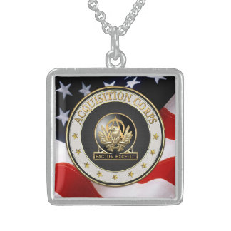 [200] Acquisition Corps (AAC) Regimental Insignia Square Pendant Necklace