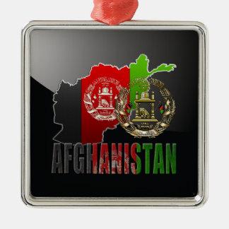 [200] Afghanistan: COA, Flag & Map Square Metal Christmas Ornament